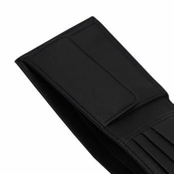 vue à plat ouvert portefeuille essentiel cuir noir jules & jenn