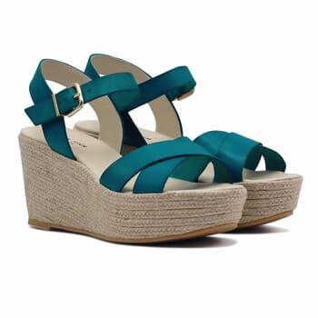 sandales compensees cuir bleu jules & jenn