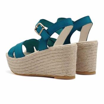 vue arriere sandales compensees cuir bleu jules & jenn