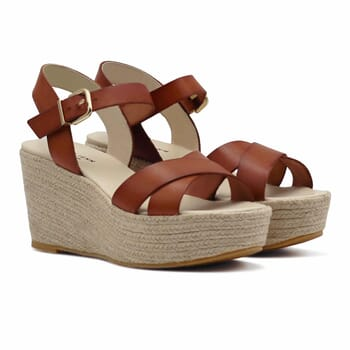 sandales compensees cuir camel jules & jenn