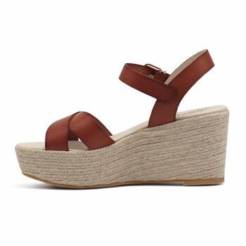vue interieure sandales compensees cuir camel jules & jenn