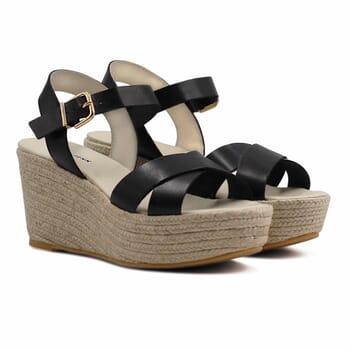 sandales compensees cuir noir jules & jenn
