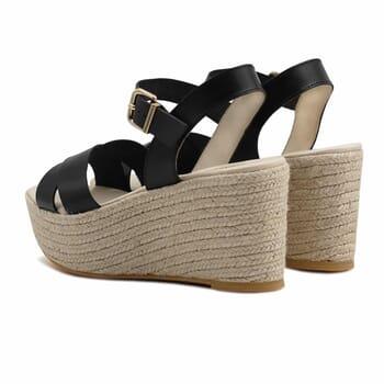 vue arriere sandales compensees cuir noir jules & jenn