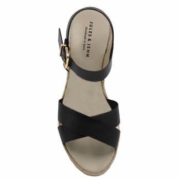 vue dessus sandales compensees cuir noir jules & jenn