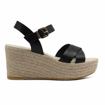 vue exterieure sandales compensees cuir noir jules & jenn