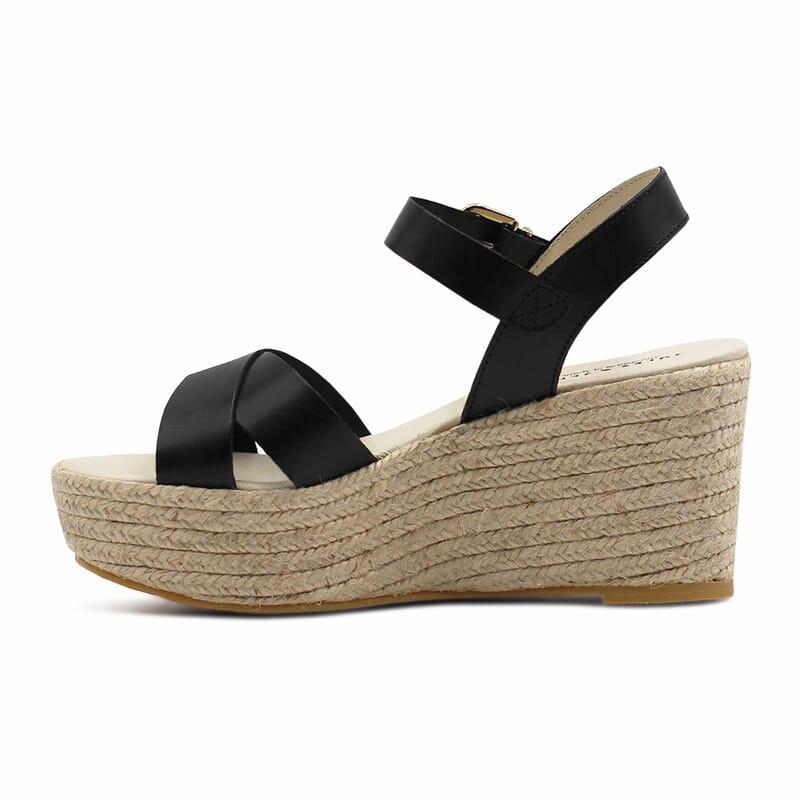 vue interieure sandales compensees cuir noir jules & jenn