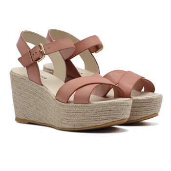 sandales compensees cuir rose jules & jenn