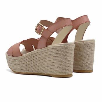 vue arriere sandales compensees cuir rose jules & jenn