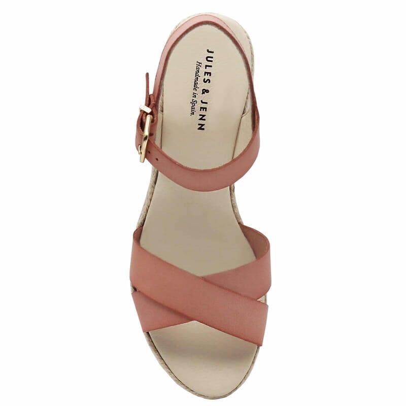 vue dessus sandales compensees cuir rose jules & jenn