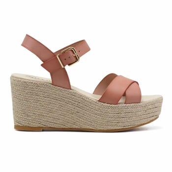 vue exterieure sandales compensees cuir rose jules & jenn