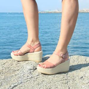 vue posee sandales compensees cuir rose jules & jenn