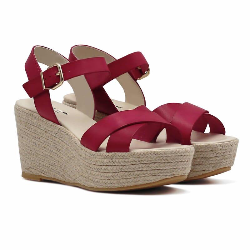sandales compensees cuir rouge jules & jenn