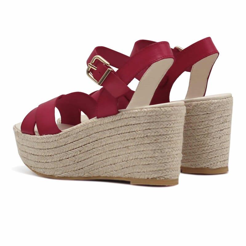 vue arriere sandales compensees cuir rouge jules & jenn