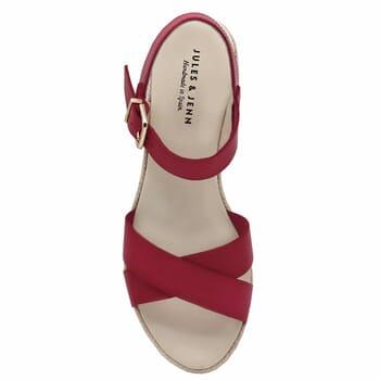 vue dessus sandales compensees cuir rouge jules & jenn