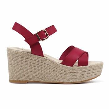 vue exterieure sandales compensees cuir rouge jules & jenn