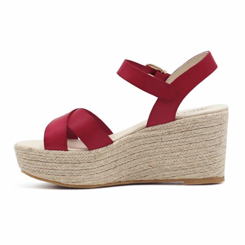 vue interieure sandales compensees cuir rouge jules & jenn