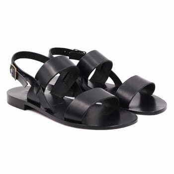 sandales plates cuir noir jules & jenn