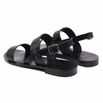 vue arriere sandales plates cuir noir jules & jenn