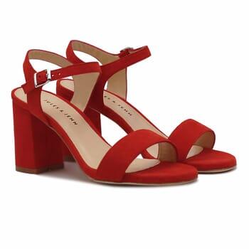 Sandales talon cuir daim rouge Jules & Jenn