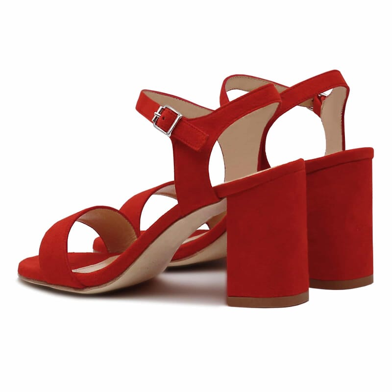 vue arriere sandales talon cuir daim rouge femme Jules & Jenn
