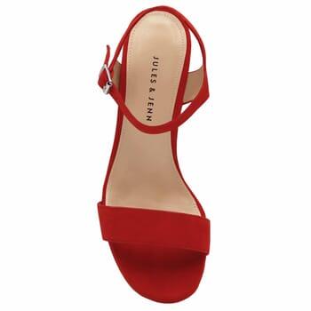 vue dessus sandales talon cuir daim rouge femme Jules & Jenn