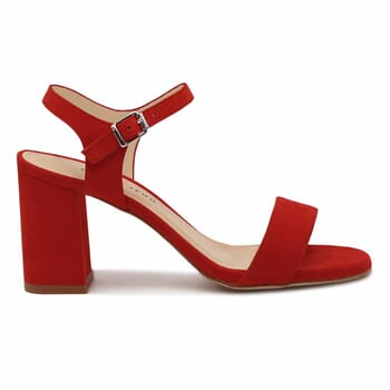 vue exterieure sandales talon cuir daim rouge femme Jules & Jenn