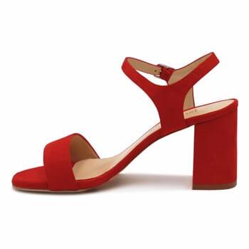 vue interieure sandales talon cuir daim rouge femme Jules & Jenn
