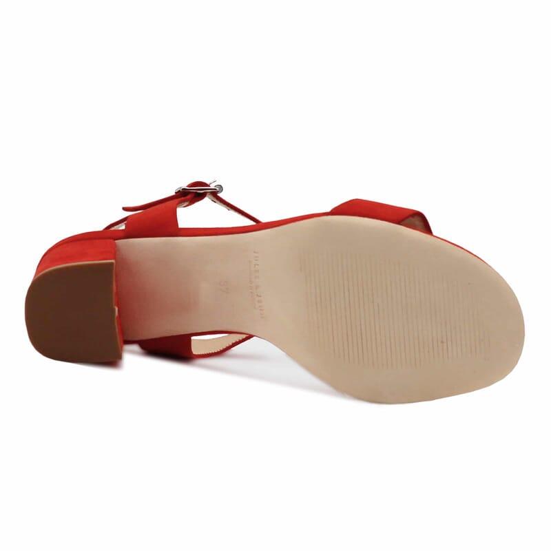 semelle cuir sandales talon cuir daim rouge femme Jules & Jenn