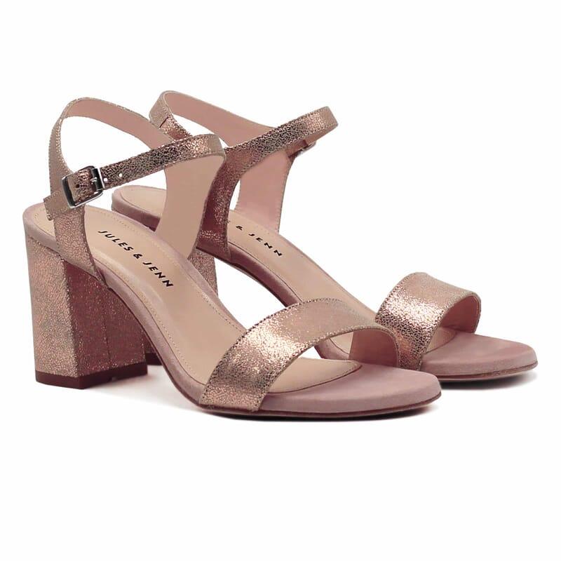 sandales talon cuir daim rose metallise Jules & Jenn