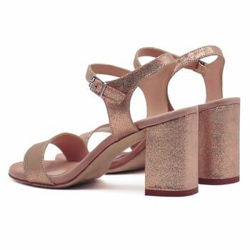 vue arriere sandales talon cuir daim rose metallise femme Jules & Jenn