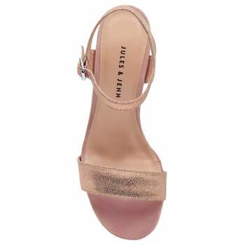 vue dessus sandales talon cuir daim rose metallise femme jules & jenn