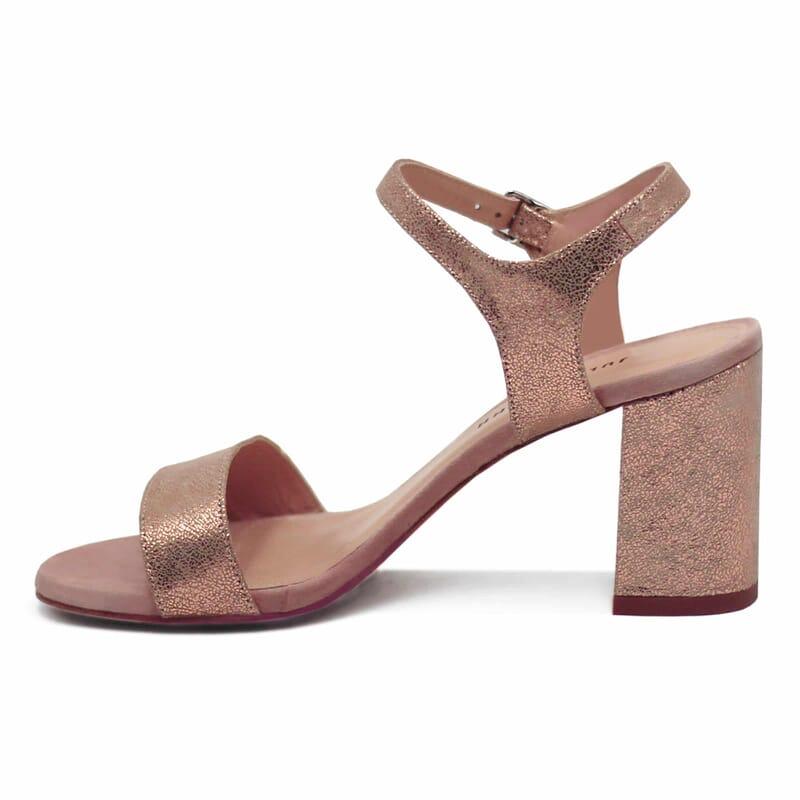 vue interieure sandales talon cuir daim rose metallise femme jules & jenn