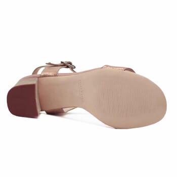 semelle cuir sandales talon cuir metallise rose femme jules & jenn