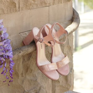 vue posee sandales talon cuir metallise rose metalise femme jules & jenn