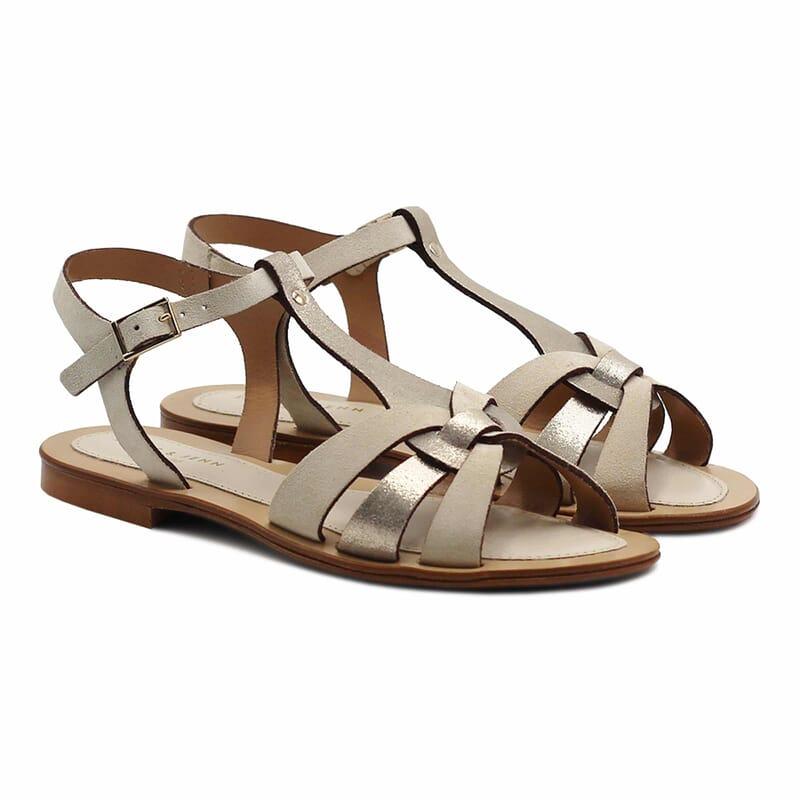 sandales plates croisees cuir daim beige jules&jenn