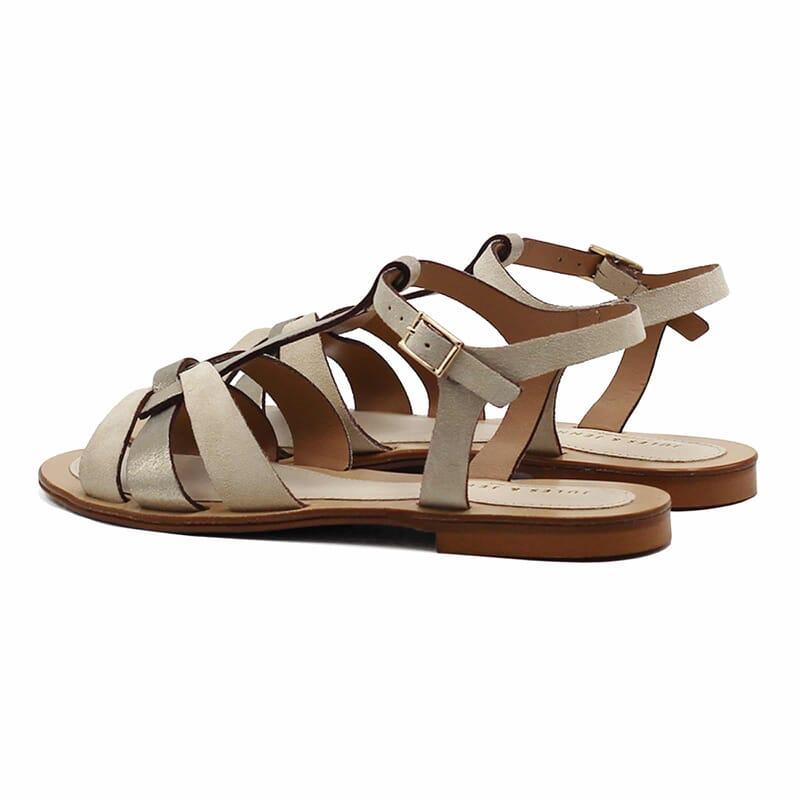 vue arriere sandales plates croisees cuir daim beige jules&jenn