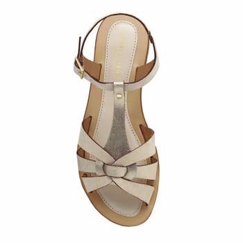 vue dessus sandales plates croisees cuir daim beige jules&jenn