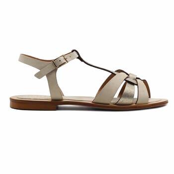 vue exterieure sandales plates croisees cuir daim beige jules&jenn
