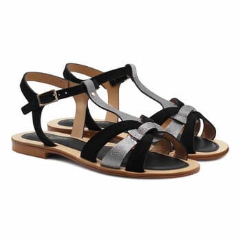 sandales plates croisees cuir daim noir jules&jenn