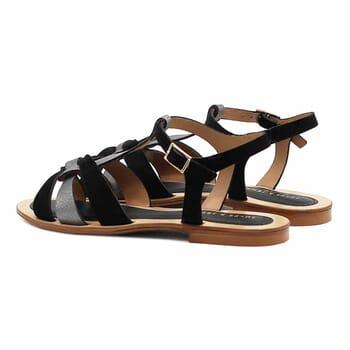 vue arriere sandales plates croisees cuir daim noir jules&jenn