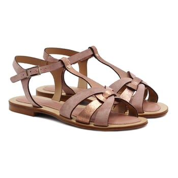 sandales plates croisees cuir daim rose jules&jenn