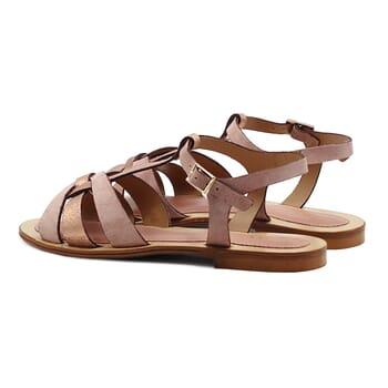vue arriere sandales plates croisees cuir daim rose jules&jenn