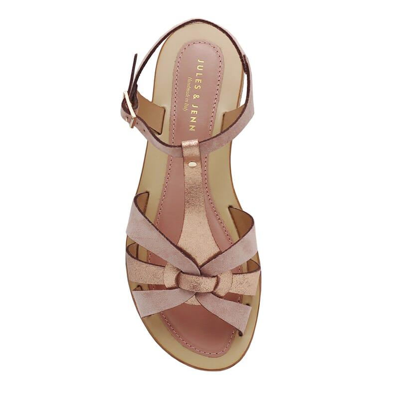 vue dessus sandales plates croisees cuir daim rose jules&jenn