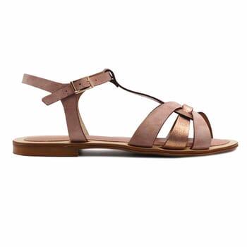 vue exterieure sandales plates croisees cuir daim rose jules&jenn