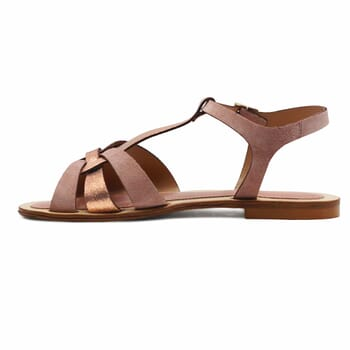 vue interieure sandales plates croisees cuir daim rose jules&jenn
