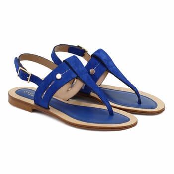 sandales tropeziennes cuir daim bleu royal jules & jenn