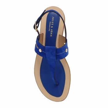 vue dessus sandales tropeziennes cuir daim bleu