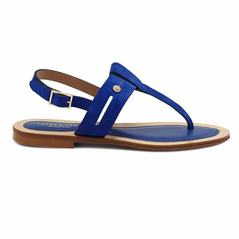vue exterieure sandales tropeziennes cuir daim bleu