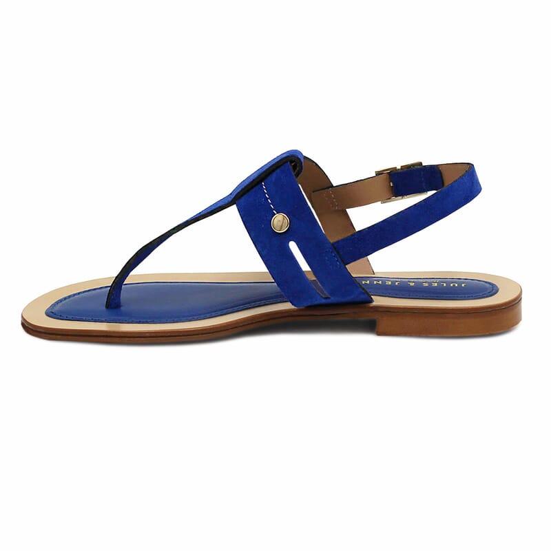 vue interieure sandales tropeziennes cuir daim bleu
