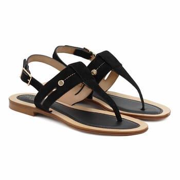 sandales tropeziennes cuir daim noir jules & jenn
